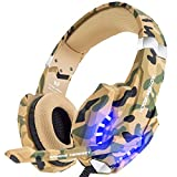 BENGOO Gaming Headset Over Ear Headphone with Mic and LED Light for PC, PS4, Xbox One, Nintendo Switch, Noise Cancelling, Stereo Bass Surround, Comfortable Protein Earmuff - Camouflage