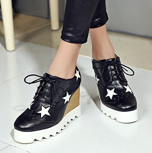 Sfnld Womens Fashion Star Round Toe Low Cut Platform High Wedges Lace Up Loafers Shoes Black 38R99