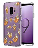 Unov Case for Galaxy S9 Plus Clear with Design Soft TPU Shock Absorption Slim Embossed Pattern Protective Back Cover (Hanging Sloth)