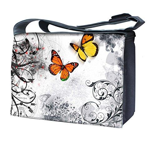 Ektor - Bolso al hombro para mujer mariposas en el blanco