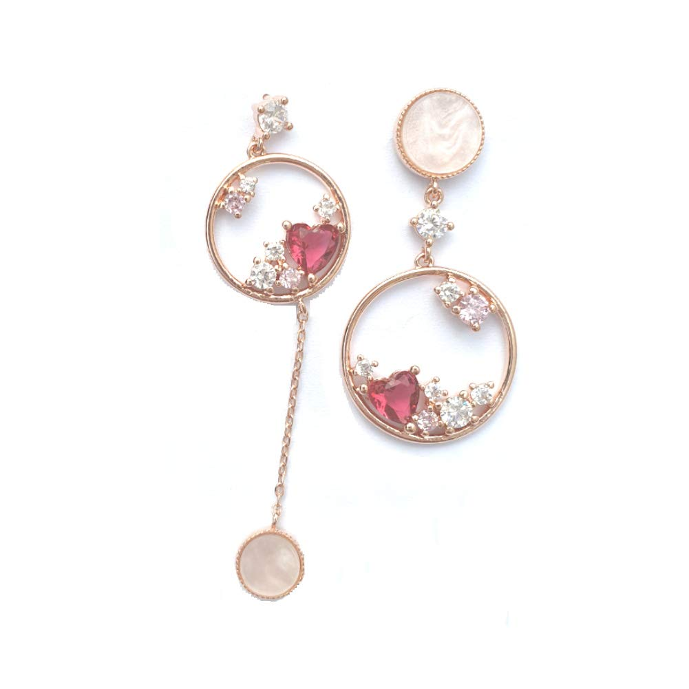 rosegold color unbalance design round heart cubic Dangle earrings drop earrings