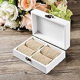 AW Rustic Wood Wedding Ring Bearer Box Jewelry Box for Wedding Ceremony