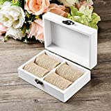 AW Rustic Wood Wedding Ring Bearer Box Ring Holder Decorative Box
