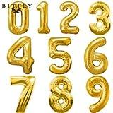 """Globo Metalico aprox 40""""(101.6 cm) color Dorado numero 6 (seis)"""