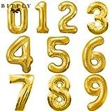 """Globo Metalico aprox 40""""(101.6 cm) color Dorado numero 0 (cero)"""