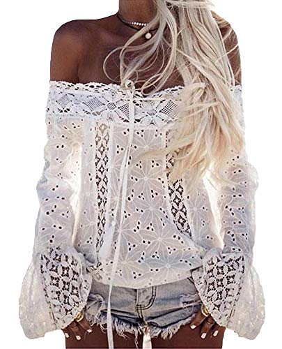 (ezShe Women's Off Shoulder Long Sleeve Pierced Lace Blouse Tops, White L)