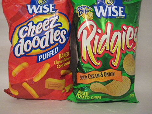 Wise Cheez Doodles Puffed 8.5 oz & Wise Ridgies Sour Cream & Onion Potato Chips 8.75 oz Spring Bundle!