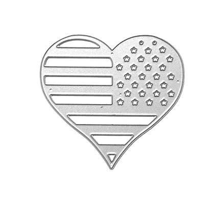 bd1780662d3a4 Amazon.com  National Flag Heart Metal Cutting Dies Stencil DIY ...
