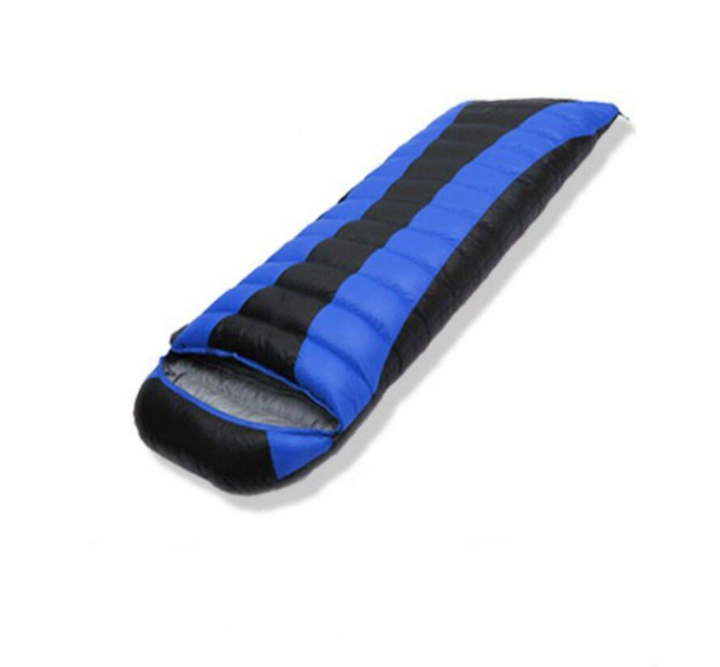 Mzq-jj Sac de Couchage en Duvet d'oie Sac de Compression Confortable portatif imperméable et léger approprié au Voyage, au Camping, aux activités de Plein air (Adulte) Lake bleu