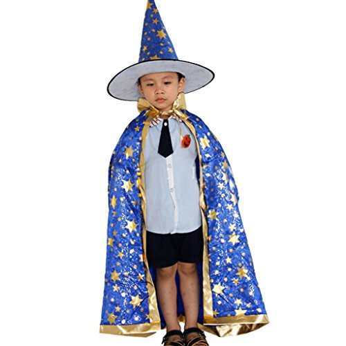 FENZL Childrens' Halloween Costume Wizard Witch Cloak Cape Robe and Hat (Black)
