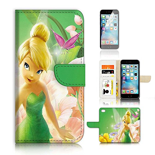 ( For iPhone 6 Plus / iPhone 6S Plus ) Flip WalletCase Cover & Screen Protector Bundle! A20281 TinkerBell