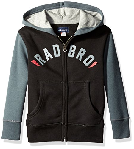 The Children's Place Boys' Little Boys' Colorblock Hoodie, Black, Small/5/6