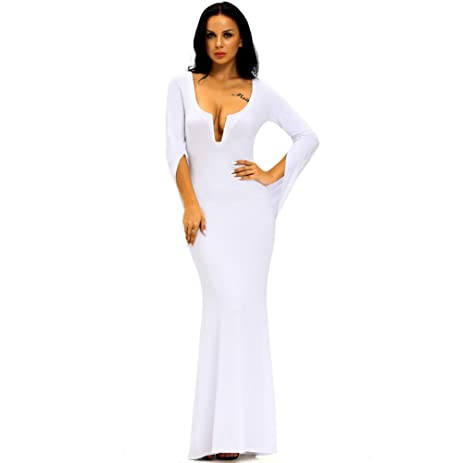 Amazon.com: YLSZ-Evening dress deep V collar chest pierced shawl ...