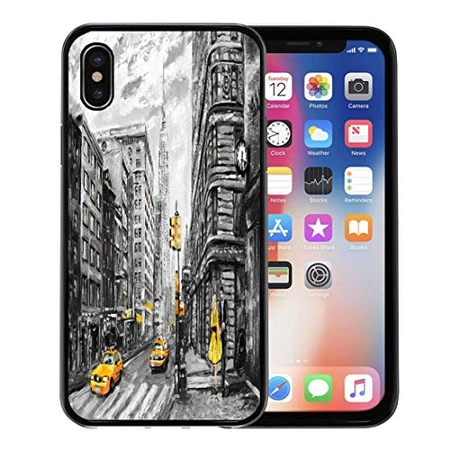 Semtomn Phone Case for iPhone Xs case,Oil Painting on Canvas Street View of New York Man and Woman Yellow Taxi Modern in Gray Colors American for iPhone X Case,Rubber Border Protective Case,Black