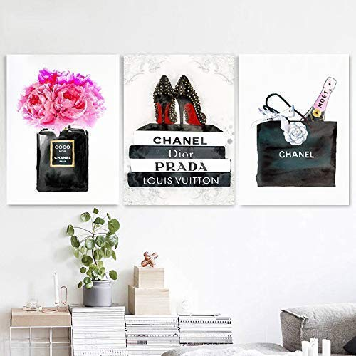 (Set Wall Fashion Glam Art Poster Print Designer Brand)
