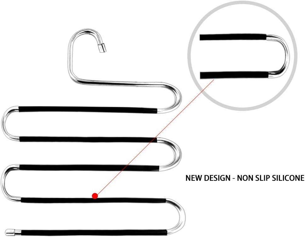 #N//A Kleiderb/ügel Kleidung Edelstahl multifunktional platzsparend Jeans Hosenb/ügel 5 Ebenen S-Typ Handt/ücher Hosenregal f/ür Hosen rutschfest Schals