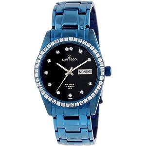 Sartego Men's SLGU33 Classic Analog Black Face Dial Blue Swarovski Watch