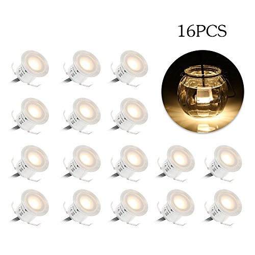 Tomshine 16 Pack Recessed LED Deck Light Kit, High Bright in Ground Outdoor Landscape LED Lighting for Stair Patio Garden Floor Corner Sauna Room Bathroom, Waterproof IP67, 12V Low Voltage Safe For Sale