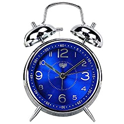 Monique 4 Inch Twin Bell Metal Alarm Clock Battery Operated Bedsides Luminous Analog Quartz Clock for Heavy Sleeper