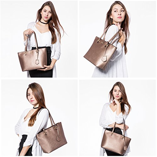 Bronze Tote Satchel Gold Women Shoulder for Bags Set Handbags Hobo Purse 3pcs OvpIwx