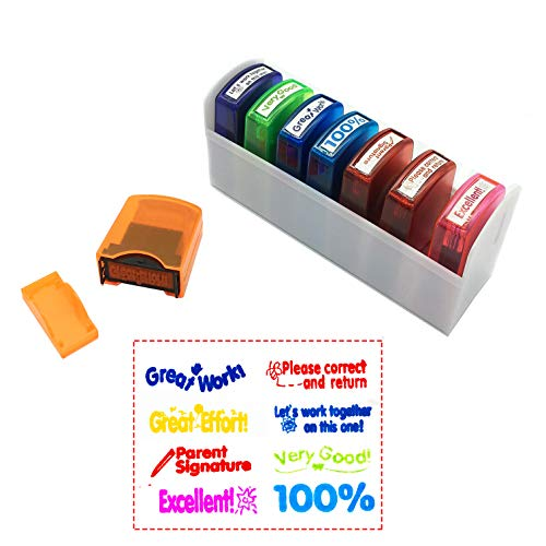 Reliancer Colorful Self-Inking Motivation School Grading Teacher Stamp Set and Tray (8-Piece) (Jumbo Teacher Stamps)