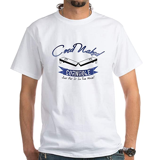 f5e7d3d1165c CafePress Coed Naked Cornhole Blue White T Shirt 100% Cotton T-Shirt, White