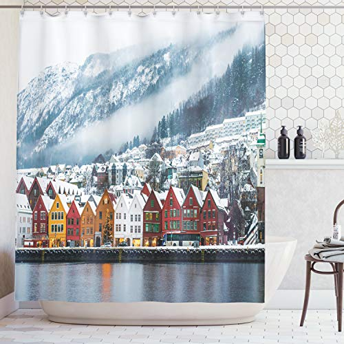 (Ambesonne European Cityscape Decor Collection, Winter View of Bruges Norway Northern Mountain Landscape European Print Urban Deco, Polyester Fabric Bathroom Shower Curtain Set with Hooks, Multi)