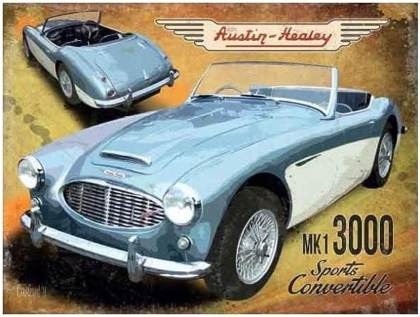AUSTIN-HEALEY 3OOO MK2 METAL SIGN,CLASSIC BRITISH CARS,METAL CAR SIGN.