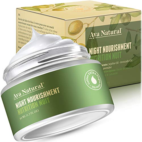 51Eo8fawjPL - All Natural Night Cream Face Moisturizer - Vegan Anti Aging Night Time Anti Wrinkle Dark Spot Corrector for Dry Skin by Aya Natural