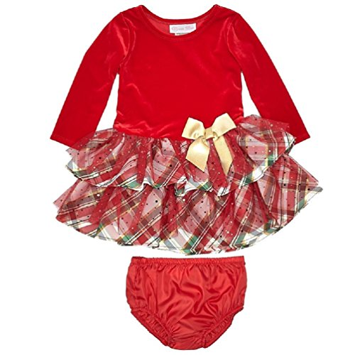 Bonnie Jean Baby Girls' Red Velvet to Ruffled Plaid Holiday Dress with Diaper Cover