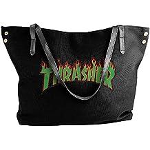 Women's Trasher Flame Logo Canvas Large Tote Bags Shopping Beach Shoulder Handbags Purse