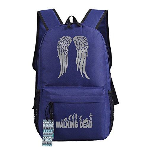 The Walking Dead Cosplay beiläufige Beutel-Rucksack-Schultasche-leuchtende Tasche 18 Wahlen Blaue graue Flügel