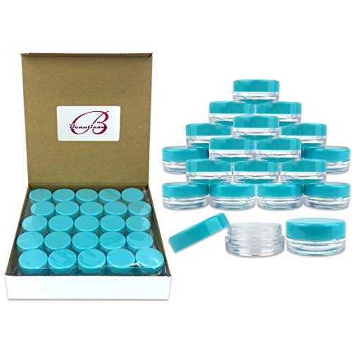 (Quantity: 50 Pieces) Beauticom 3G/3ML Round Clear Jars with TEAL Sky Blue Lids for Scrubs, Oils, Toner, Salves, Creams, Lotions, Makeup Samples, Lip Balms - BPA Free (Jar 3g)
