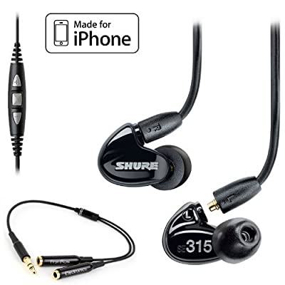 Shure SE315 Earphones (Black) & CBL-M-+K Music Phone Cable with Remote + Mic for iPhone, iPod and iPad