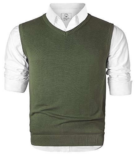 MOCOTONO Men's V-Neck Cotton Sleeveless Sweater Casual Vest Green Large by MOCOTONO