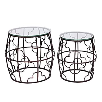 ELEGAN Luxury Classic Metal Accent Nesting Side End Table Set of 2 Copper