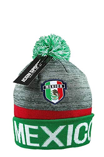 Mexico Beanie Pom Flag Soccer Cap hat Winter Fitted Knit Beanie (Grey)