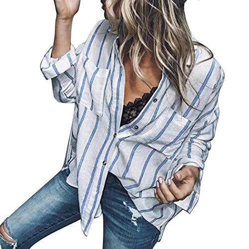 HGWXX7 Women Tops Long Sleeve Casual Striped Button Blouse T-Shirt With Pockets(S,Blue)