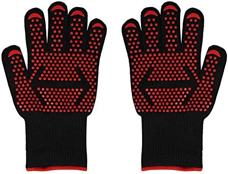 FastUU Heat Resistant Silicone Gloves Extreme Anti-Skid Oven Gloves Cooking Hot Mitts Gloves for Barbecue Mining Precision Grinding Rock Climbing