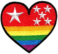 Gay Lesbian Pride Heart Rainbow Flag Lgbt Retro Applique Iron-on Patch New S-139 T- Shirt
