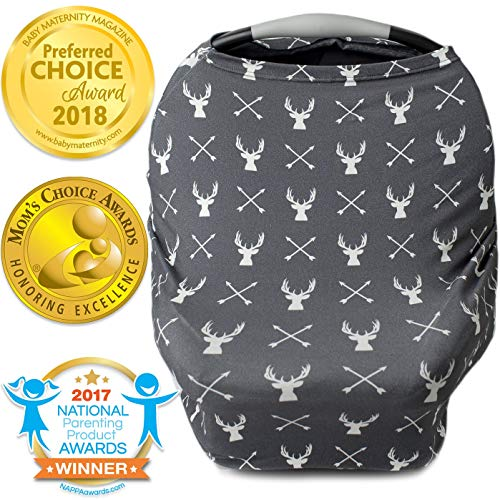 Nursing Cover, Car Seat Canopy, Shopping Cart, High Chair, Stroller and Carseat Covers for Boys or Girls- Best Stretchy Infinity Scarf and Shawl- Multi Use Breastfeeding Cover- Grey Stag Deer Head