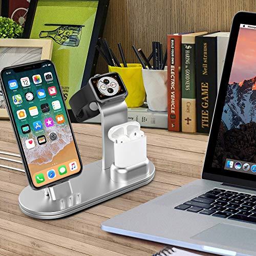 OLEBR-Charging-Stand-for-iWatch-3842-4044mm-Aluminum-Watch-Charging-Stand-for-iWatch-Series-4321-AirPodsiPhone-XsX-MaxXRX88Plus77-Plus-6S-6S-PlusiPad-Silver