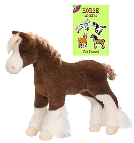 Douglas Mcclay Clydesdale Horse Plush Animal with Horse Sticker Book, 15