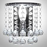 Modern Polished Chrome Crystal Droplet Chandelier Candle Wall Light Decor Lamp WDW86131CC