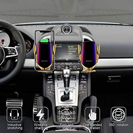 Soporte para autom/óvil para Carga inal/ámbrica Plata rotaci/ón de 360 /° Dos Opciones de Montaje compatibilidad Universal Myrado Qi Wireless Car Charger Superficie de Cristal de Espejo