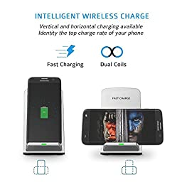 Seneo PA015 Fast Wireless Charger 2 Coils QI Wireless Charging Stand(Sleep-Friendly) - No AC Adapter