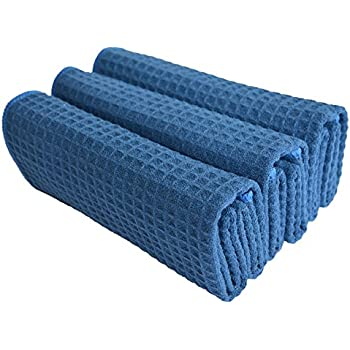 Bon SINLAND Microfiber Waffle Weave Kitchen Towels Dish Cloth 3 Pack 16inch X  24inch Navy Blue