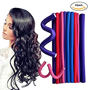 "Yookat 42-pack 9.4"" Twist-flex Hair Roller Curling Rods Set in 7 Sizes Soft Flexible Hair Curler Makers DIY Hair Styling Tools Harmless for Dry/Wet Hair Mother's Day Gift"