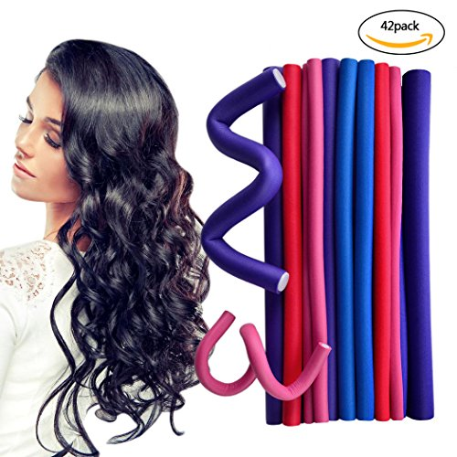 Twist-flex Hair Roller Curling Rods Set in 7 Sizes Soft Flexible Hair Curler Makers DIY Hair Styling Tools Harmless for Dry/ Wet Hair (Soft Curler)