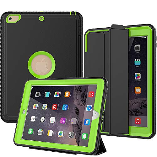 iPad 5th/6th Generation Case, SEYMAC Smart Case [Protective Cover] with Auto Sleep Wake Function, Three Layer Drop Protection Rugged/Heavy Duty Case for 2017/2018 New iPad (Green) (Tablet Box 7 Case Inch Outter)